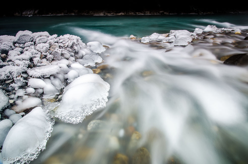 Icy Rocks and River water