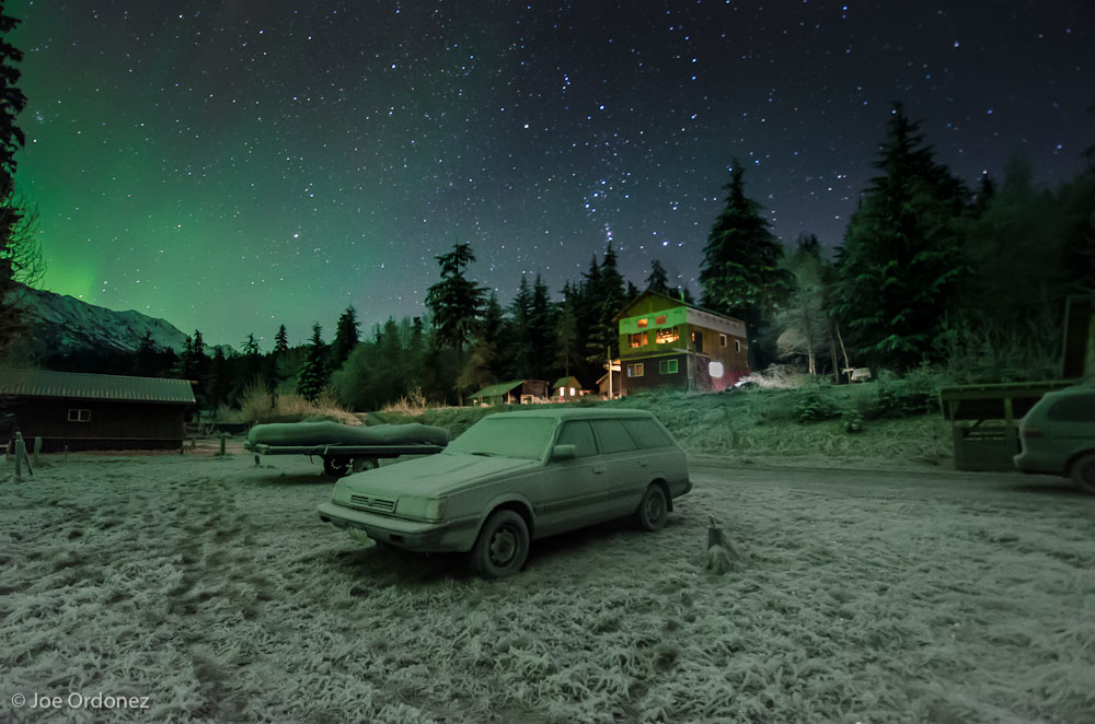 View of Frosty Subaru with Northern Lights